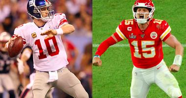 Patrick Mahomes says that Eli Manning's Super Bowl XLVI throw as better than his