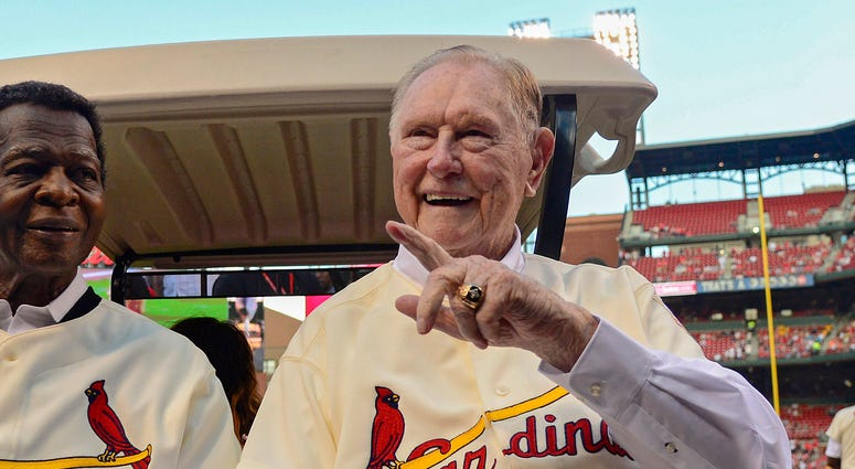 St. Louis Cardinals hall of famer Lou Brock and former manager Red Schoendienst