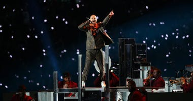 Feb 4, 2018; Minneapolis, MN, USA; Justin Timberlake performs during half time in Super Bowl LII between the New England Patriots and the Philadelphia Eagles at U.S. Bank Stadium.