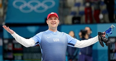 John Shuster (USA) celebrates after beating Canada in the men's curling semifinal during the Pyeongchang 2018 Olympic Winter Games