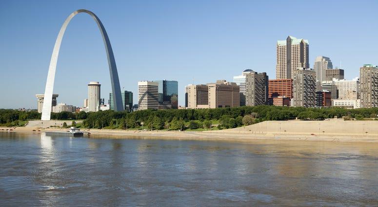 St Louis, Missouri Skyline along the Mississippi River