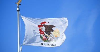 State Flag of Illinois against the sky