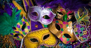 mardi gras beads and masks