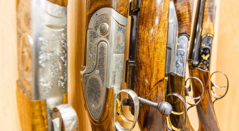 Close up of a row of guns displayed in gun shop
