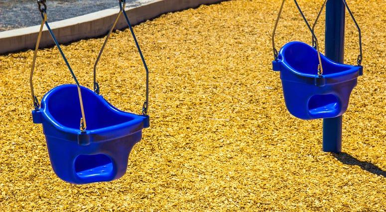 Baby swings on playground