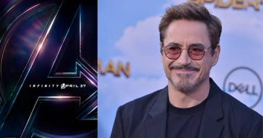 Movie poster for 'Avengers: Infinity War' and actor Robert Downey Jr.