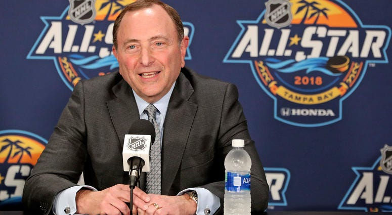 NHL commissioner Gary Bettman addresses the media prior to the the 2018 NHL All Star Game