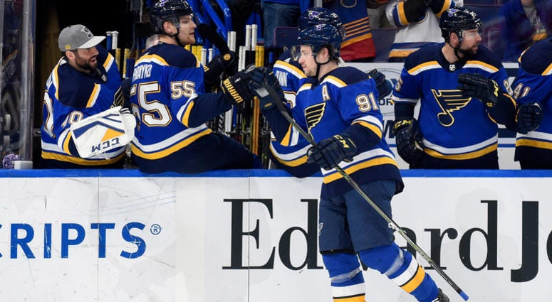 St. Louis Blues right wing Vladimir Tarasenko (91) is congratulated by teammates