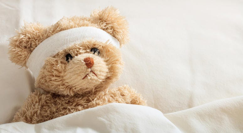 The child is sick concept.Teddy bear in the hospital