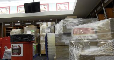 Boxes are stacked and ready to be shipped inside the St. Louis Cardinals Clubhouse