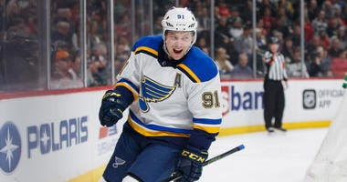 St Louis Blues forward Vladimir Tarasenko (91) celebrates his goal