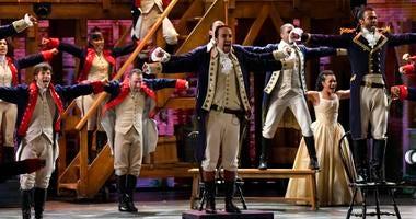 Lin-Manuel Miranda (center) and the cast of 'Hamilton'