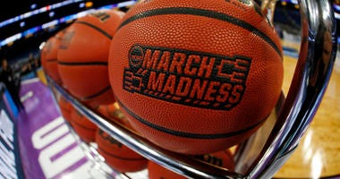 General view of a March Madness basketball