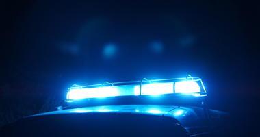 Police beacon light in the night