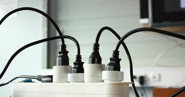 Variety of electric plugs with extension cord, cabel.