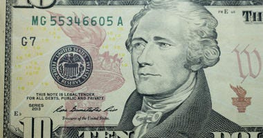 Ten dollar bill 10 usd closeup macro, Alexander Hamilton portrait, united states money close up, 2013 series