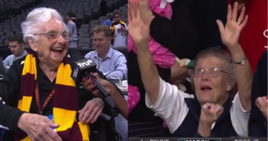 Sister Jean and the Gonzaga grandma during the 2018 March Madness.