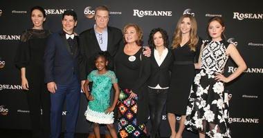 "23 March 2018 - Burbank, California - Whitney Cummings, Michael Fishman, John Goodman, Roseanne Barr, Sarah Gilbert, Sarah Chalke, Emma Kenney, Jayden Rey. ""Roseanne"" Premiere Event held at Walt Disney Studios."