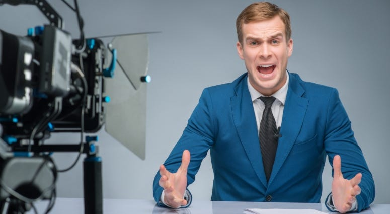 stressed news anchor