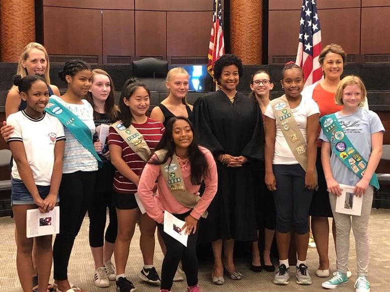 Our St. Margaret's Girl Scout Troop with Judge Noelle Collins