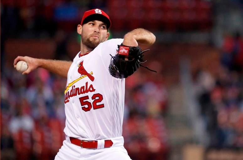 St. Louis Cardinals starting pitcher Michael Wacha throws