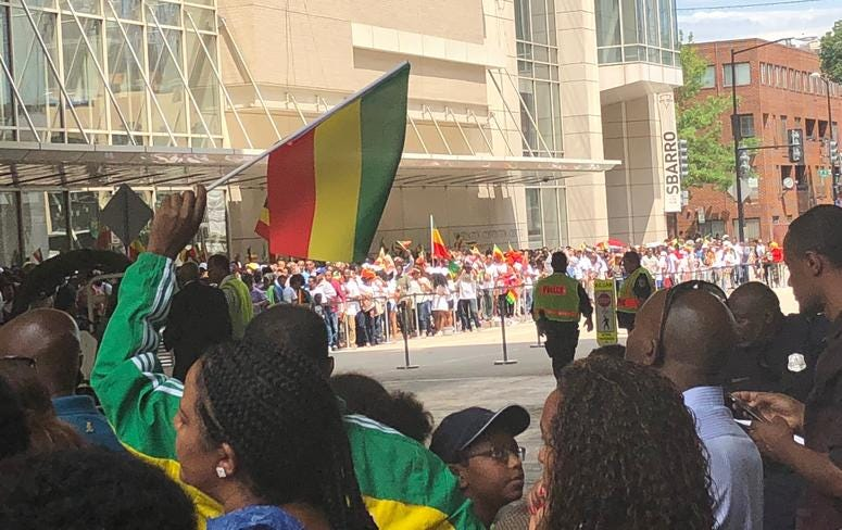 Crowd shot outside Washington Convention Center in DC to see Ethiopian Prime Minister