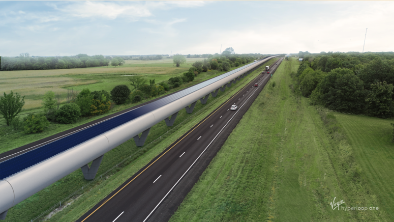 Rendering of Missouri Hyperloop along Highway-70.