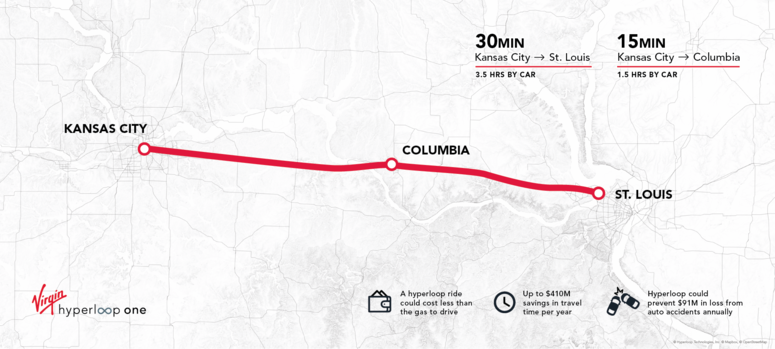 Map of possible Hyperloop One route through Missouri.
