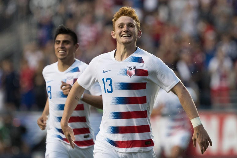 United States forward Josh Sargent (13) celebrates after scoring against Bolivia