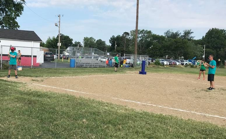 A.J. Ashby at the plate with his dad pitching in the Minds Eye Beepball tournament in St. Louis.
