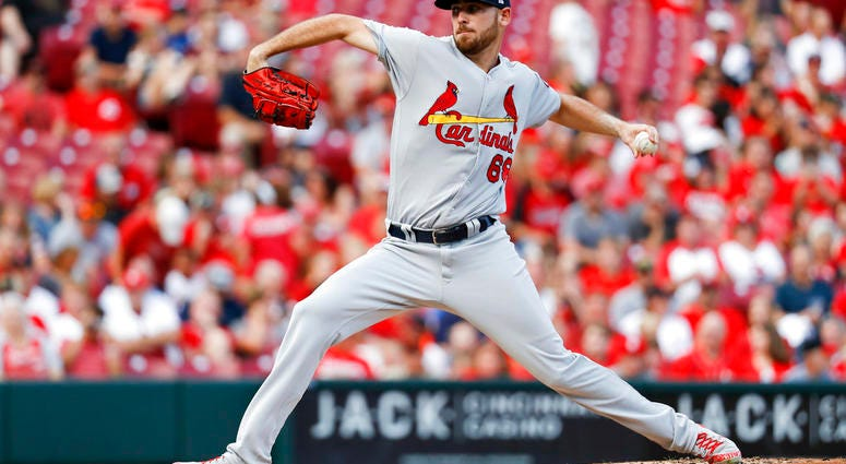 St. Louis Cardinals starting pitcher Austin Gomber throws during the first inning of the team's baseball game against the Cincinnati Reds, Tuesday, July 24, 2018, in Cincinnati.