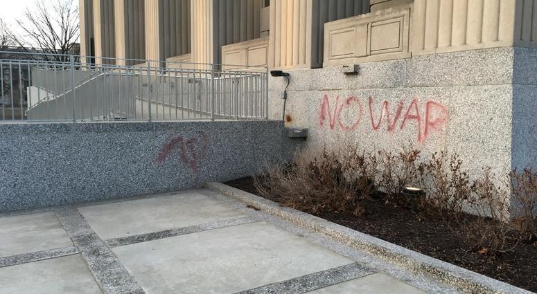 soldiers memorial vandalized
