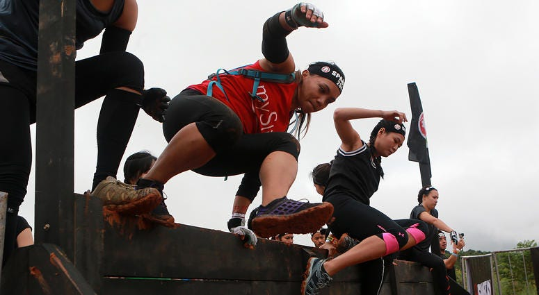 Participants compete during the Spartan Race 2017