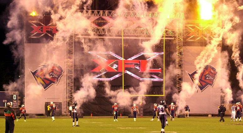 Fireworks explode announcing the start of the XFL season in Orlando, Fla. on Saturday, February 3, 2001.