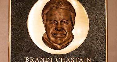 Bay Area Sports Hall of Hame inductee Brandi Chastain's plaque is displayed during a press conference in San Francisco.
