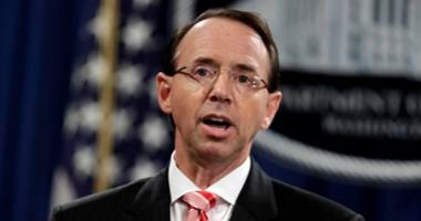 Deputy Attorney General Rod Rosenstein speaks during a news conference at the Department of Justice, Friday, July 13, 2018, in Washington.