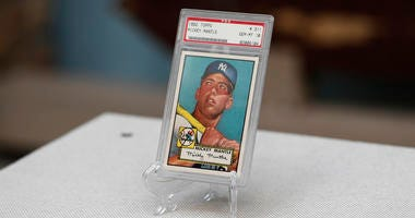 """The """"Holy Grail"""" of baseball cards, a 1952 Topps Mickey Mantle that is valued at more than $10 million"""