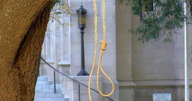 In this photo provided by WLBT-TV a noose hangs on a tree on the state capitol grounds in Jackson, Miss.