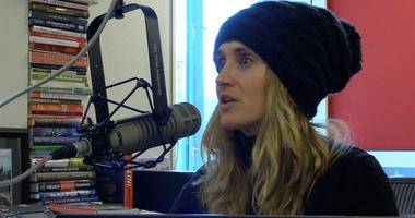 KMOX sports broadcaster Amy Marxkors in studio.