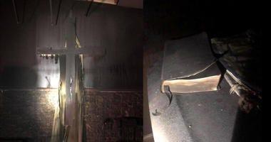 Bibles, crosses left unburnt in church fire.