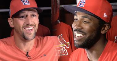 St. Louis Cardinals players Dexter Fowler and Luke Gregerson.