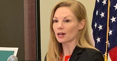 Nicole Galloway at a press conference