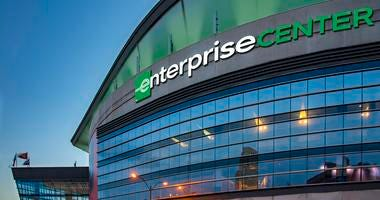 Rendering of Enterprise Center exterior view.