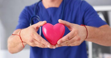 male doctor holding heart
