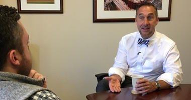 St. Louis Cardinals president of baseball operations John Mozeliak with KMOX's Chris Hrabe.