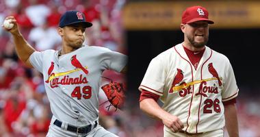St. Louis Cardinals pitchers Bud Norris and Jordan Hicks.
