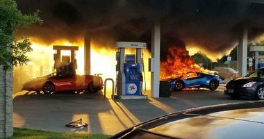 Authorities say a Lamborghini erupted in flames at a suburban St. Louis gas station