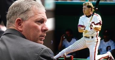 Former Philadelphia Phillies outfielder Lenny Dykstra sits during his sentencing for grand theft auto in Los Angeles.
