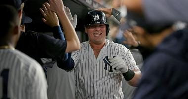 New York Yankees first baseman Luke Voit (45) celebrates his two run home run
