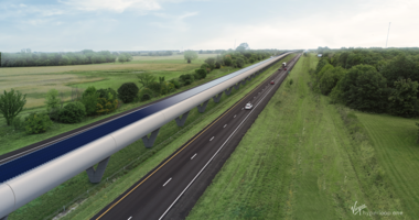 Rendering of Missouri Hyperloop along Highway-70.